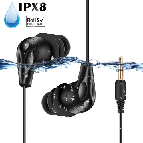 AGPTEK E11 IPX8 Headphones Waterproof Headphones, Black