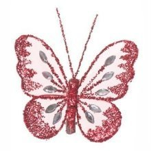 Mesh Glittered Clip On Butterflies