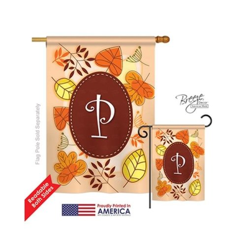 Breeze Decor 30042 Autumn P Monogram 2-Sided Vertical Impression House Flag - 28 x 40 in.