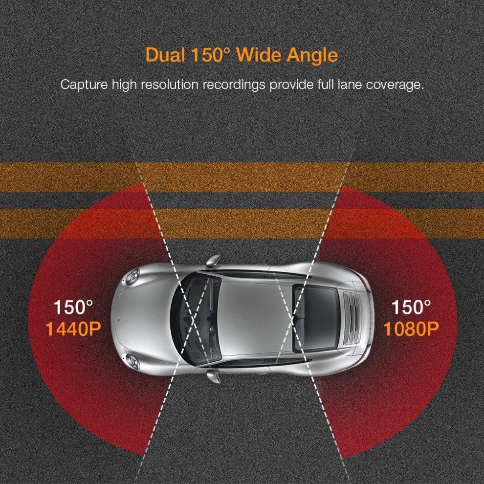 APEMAN Dual In Car Dash Cam Camera WQHD 2K 1440P Front View & 1080P Rear  View 2 7 Inch with IR Sensor Super Night Vision, 6G Lens, WDR, Loop