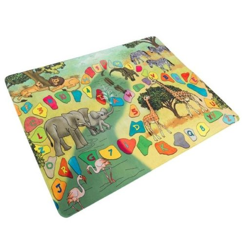 Hey Play 80-PM4 Microfiber Flannel Fleece & Foam Baby Play Mat with Non Slip Back Safari Animals, Letters & Numbers for Toddlers Boys, Girls