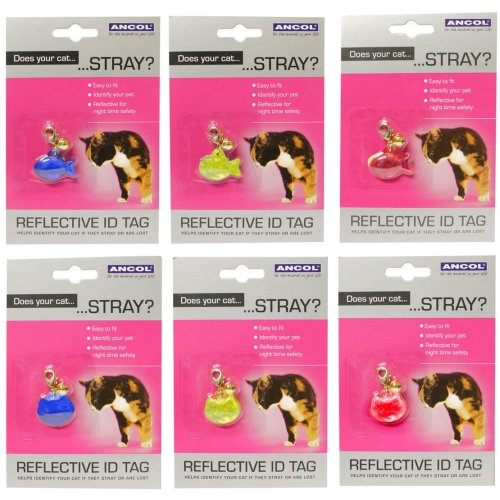 Cat Reflective Id Tags Assorted (Pack of 12)