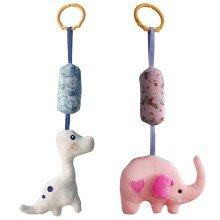 Set of 2, [Dinosaur and Elephant ] Baby Crib & Stroller Toys, Hanging Toys