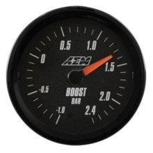 AEM 30-5132M Analog Boost Gauge, 1 - 2.4 Bar, Black