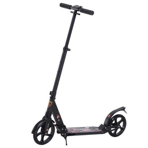 HOMCOM Folding Kick Scooter 2 Big Wheels Teens Adult Children 14+ Adjustable Ride On Black