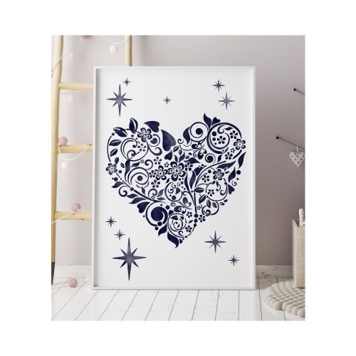 Blooming Heart Wall Floor Furniture Stencil for Painting