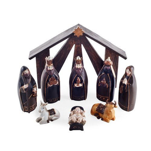 Nine Piece Black & Gold Resin Christmas Nativity Set
