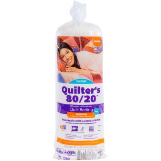 """Fairfield Quilters 80/20 Unbleached Cotton/Polyester Batting-72""""X90"""" Fob: Mi"""