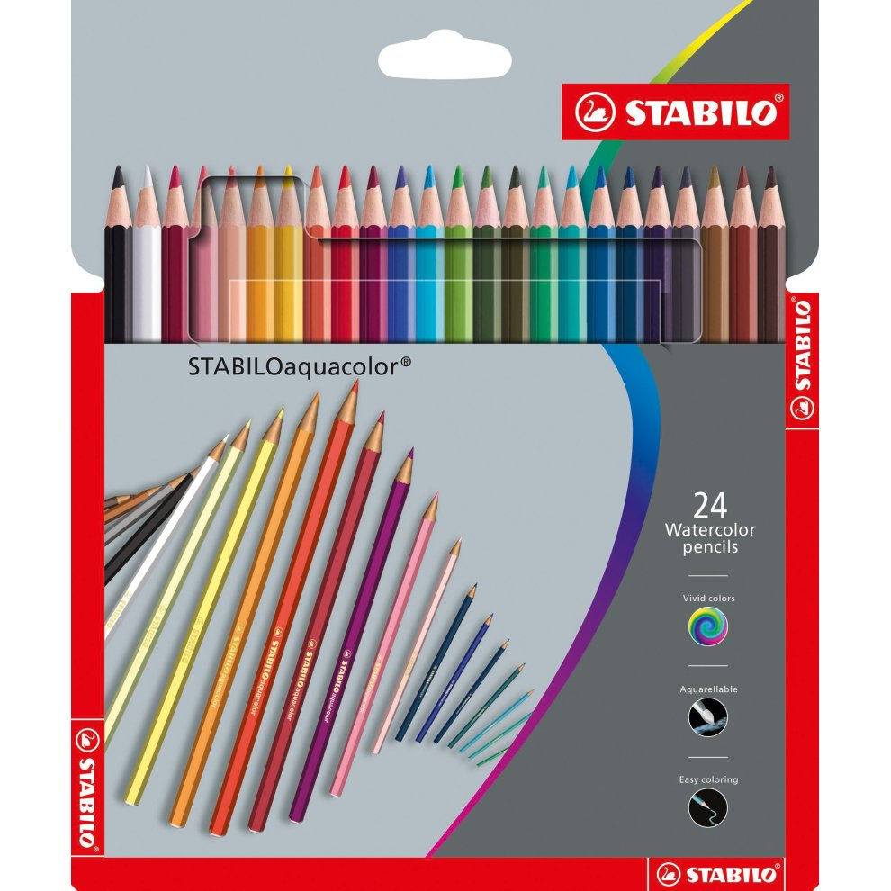 STABILO Aquacolor Colouring Pencils - Assorted Colours, Wallet of 24