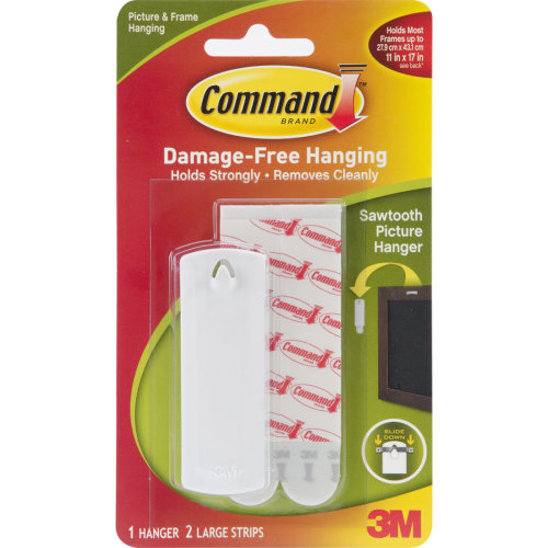 Command Large Sawtooth Picture Hangers-White 1 Hanger & 2 Strips