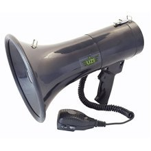 UZI UZI-MP-50W 50-Watt Megaphone with Siren, Adjustable Volume and Recording Playback, Black