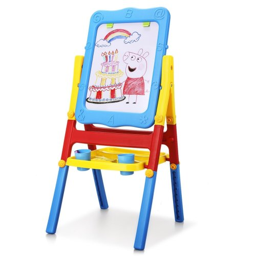 Shinehalo Magnetic Drawing Board For Toddlers Art Easel Kids Double Sided Chalkboard Painting Easel For Children 2 In 1 Foldable And Portable