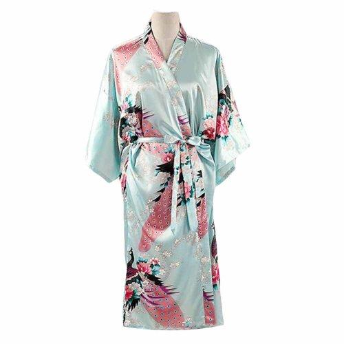 3f96ccc0a3 Light Blue- Peacock Blossoms Women s Long Bathrobe Kimono Robe Silk-like  Pajamas on OnBuy