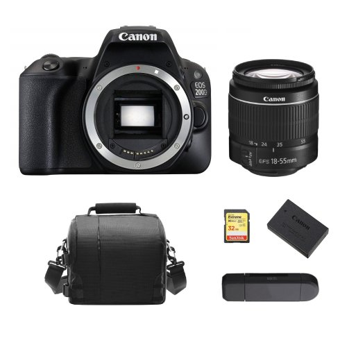CANON 200D EF-S 18-55mm IS III+32GB SD card+Bag+Battery+Card Reader