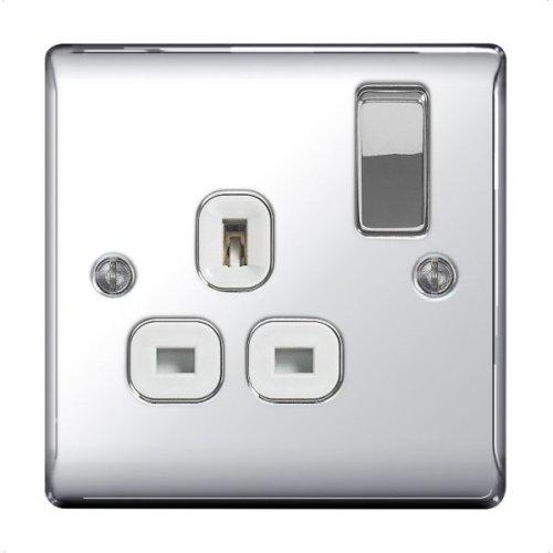 BG Nexus Metal 1 Gang 13A Switched Socket Chrome