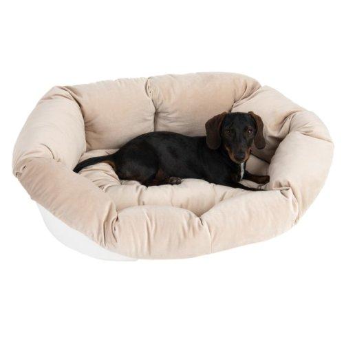White Dog Basket Removable Cover Beige Velvet