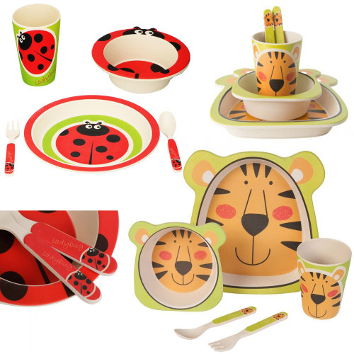 5 Pcs Kids Breakfast Bamboo Dish Set