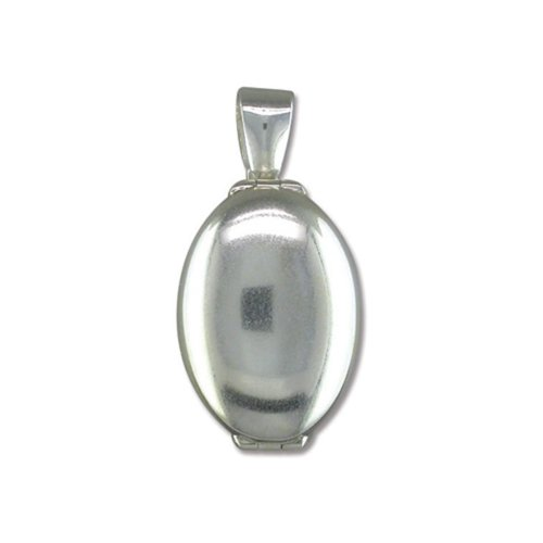 Childrens Sterling Silver Plain 4 Way Oval Locket On A Curb Necklace