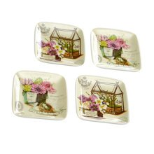 Set Of 4 Tasting Square Dishes Set Ceramic Dipping Sauce Dishes,House&Flower