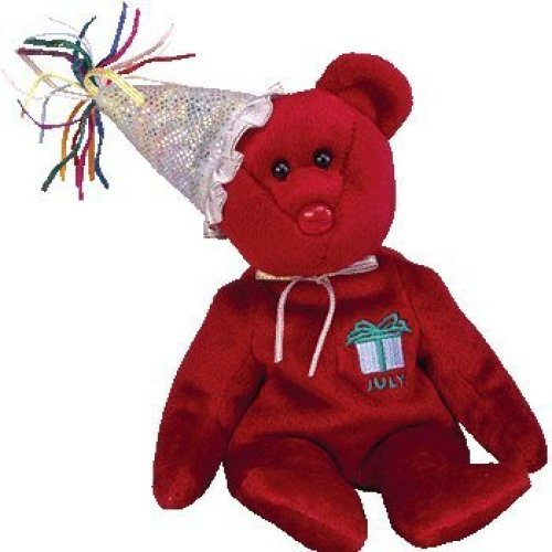 TY Beanie Baby - JULY the Teddy Birthday Bear (w/ hat)