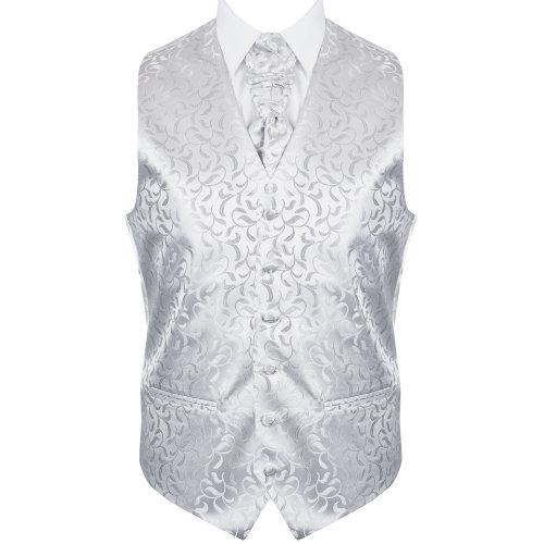 Silver Vintage Vine Wedding Waistcoat #AB-WW1004/5 Men's XXXL - 54''