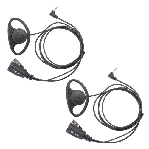 Lot 2 x Coodio D-Ring Earpiece Police Security Headset inline PTT Mic Microphone For 1 Pin Motorola TLKR 2 Way Radio Walkie Talkie