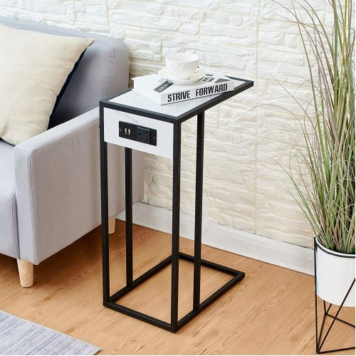 Cherry Tree Furniture ANTON Living Room Side Table, Sofa Table, End Table/w USB Ports & Power Outlet