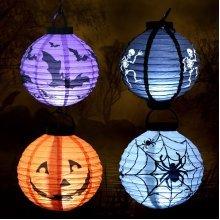 Halloween LED Pumpkin Skull Bat Spider Paper Lantern Flash Lamp Decor Props