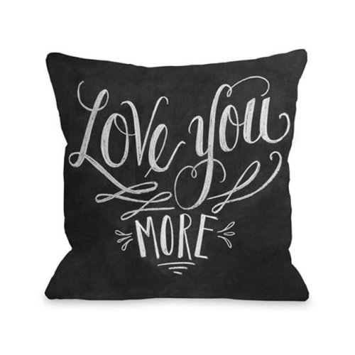 One Bella Casa 73394PL16 Love You More Pillow by Lily & Val, Gray White - 16 x 16 in.