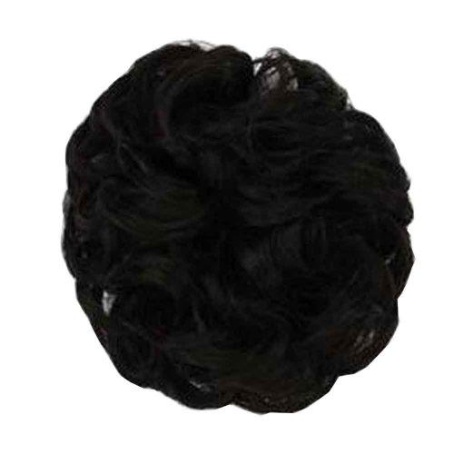 Fake Hair Bun with Elastic Hair Band, Easy to Wear [Brown Black]