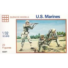 WWII - US Marines: 20 piece set of 54mm Plastic Army Men Figures - 1:32 Scale by Glencoe Models