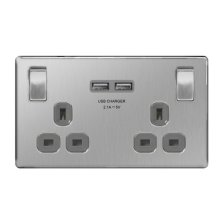 British General FBS22UG Double Switched Power Socket with USB 2.1A Charger Sockets - Brushed Steel