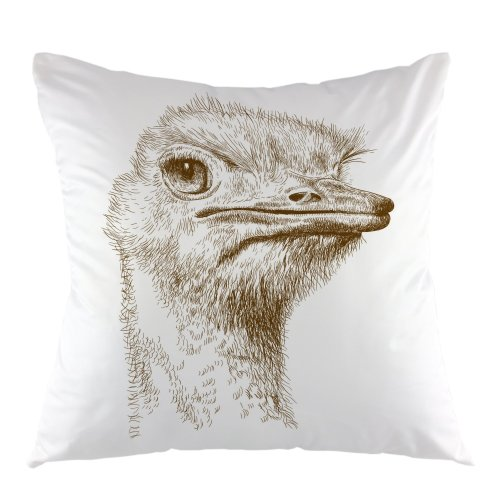 """Melyaxu Ostrich Head Decorative Throw Pillow Cover Square Cushion Cover 18""""X18"""" Grey"""