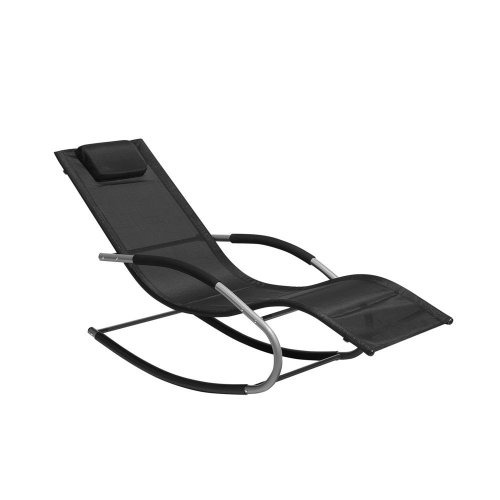 Rocking Sun Lounger Black CARANO