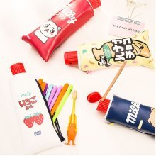 Cartoon Toothpaste Shape Pencil Case With Sharpener