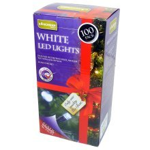 100 Bright White Static LED Christmas Lights - Outdoor Indoor Mains Tree Multi -  led white lights 100 christmas outdoor static indoor mains tree