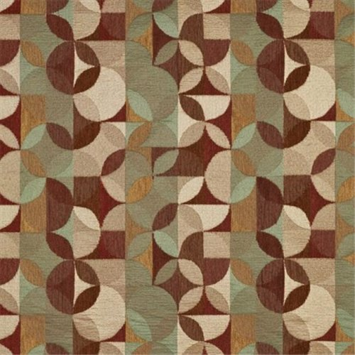 54 in. Wide Gold, Brown And Red, Geometric Chenille Upholstery Fabric
