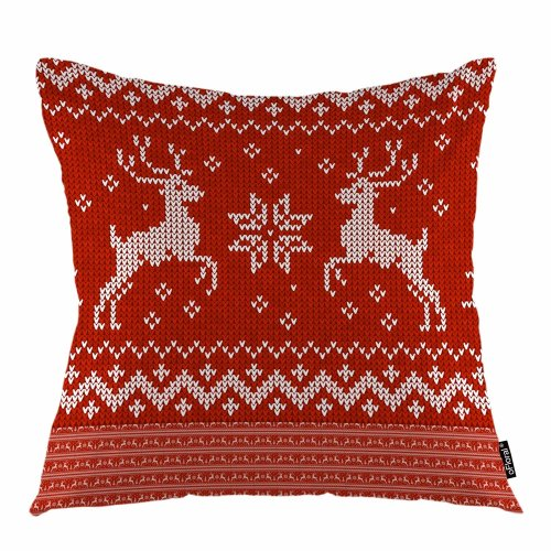 Melyaxu Christmas Throw Pillow Cover Sweater Deers Jumping Reindeer Abstract Snow Symbol Pillow Case Apply to Sofa Bedroom Car 18x18 Inch