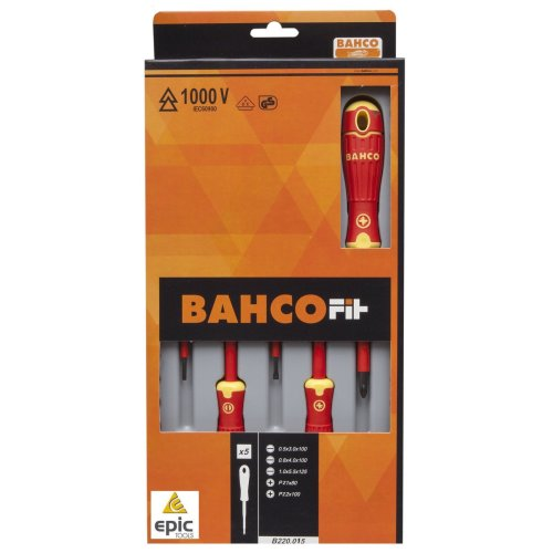 Bahco Fit 5 Pce Pozi Pz & Slot Vde 1000v Insulated Screwdriver Set