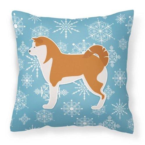 Carolines Treasures BB3572PW1414 Winter Snowflake Akita Fabric Decorative Pillow