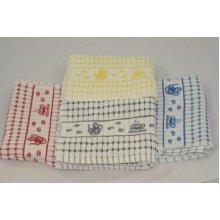 Tea Time Terry Check Jacquard Tea Towel - 50cm x 70cm - 100% Cotton