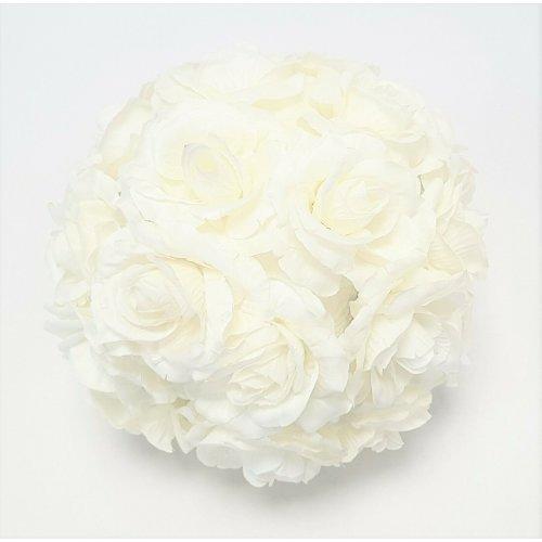 22cm Artificial Hanging Rose Flower Ball - Cream / White Wedding Decoration