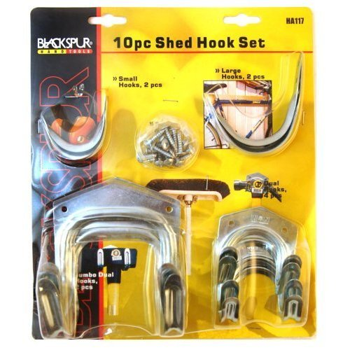 Blackspur Shed Hook Set - 10 Pieces Bb-ha117 -  hook set shed 10 garden blackspur tools hang piece storage multi pack power bike cycle pieces bbha117
