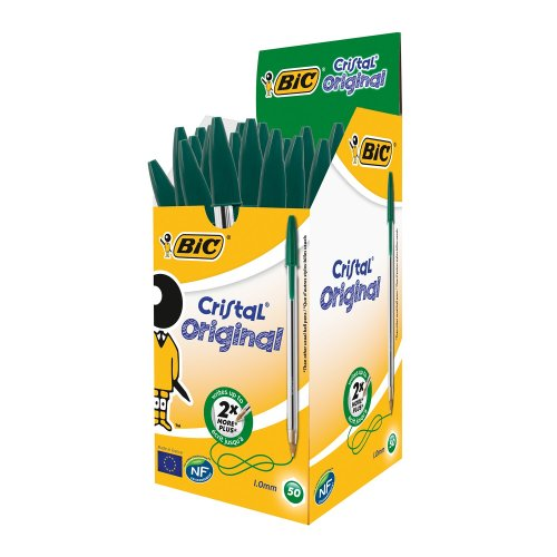 Bic Cristal Medium Green Pens (pack of 50s)