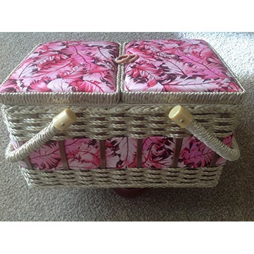 Split Opening Lid Rectangular Sewing Box 25x20x16 cm in Red and Cream