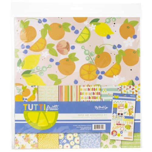 """My Mind's Eye Paper & Accessories Kit 12""""X12""""-Tutti Frutti"""