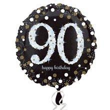 Black & Gold 90th Birthday Standard Foil Balloons S40 -