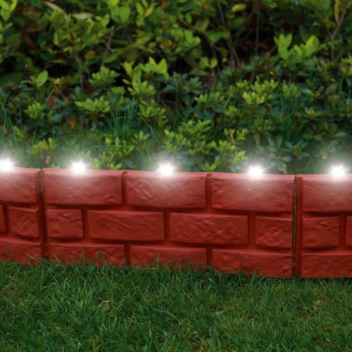 12 X Brick Effect Garden Edging with LED Light - Terracotta