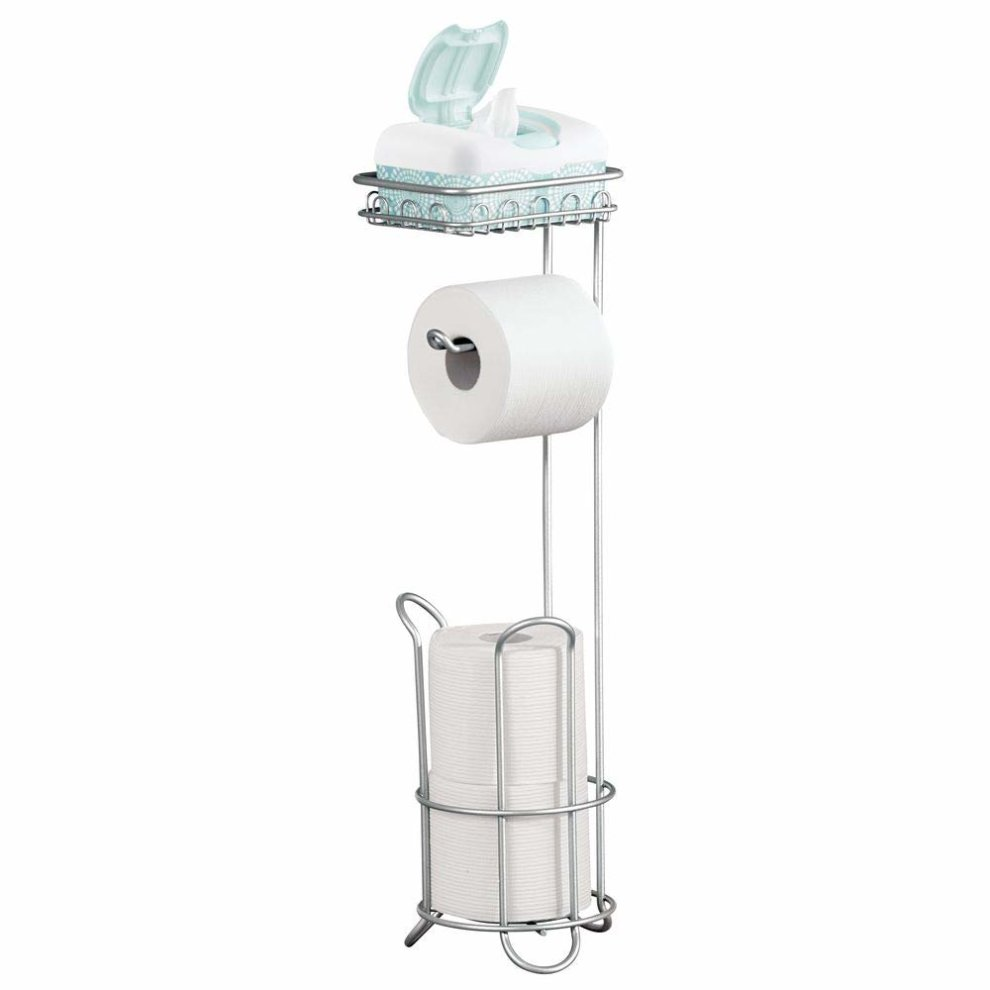 42d4c4705a392a ... InterDesign Classico Bathroom Free Standing Toilet Roll Stand Holder  Plus with Shelf, Chrome - 5 ...