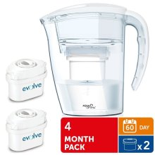 Aqua Optima Galia Water Jug 2.25L with 2 x 60 Day Evolve Filters - 4 Month Pack